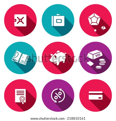 Finance flat icon collection - stock vector