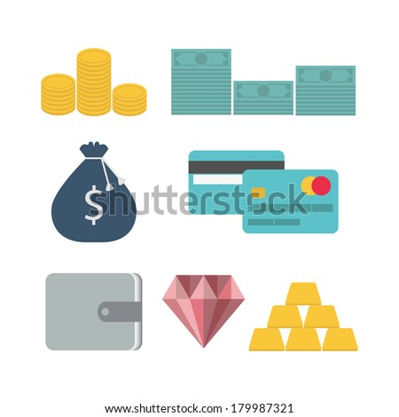 Finance flat icons set for web and mobile application. Vector illustration  - stock vector