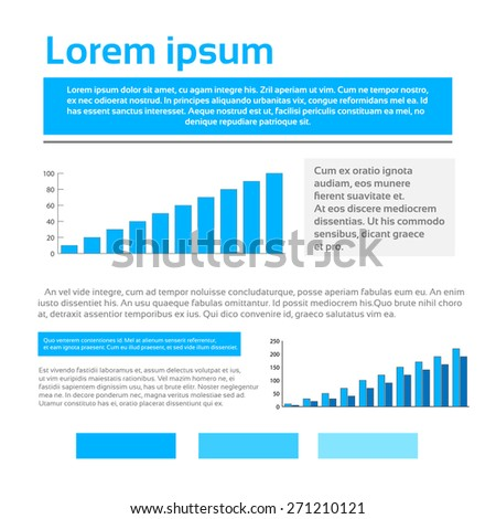 Finance Graph Document with Info Charts Financial Business Page Infographic Set Vector Illustration - stock vector