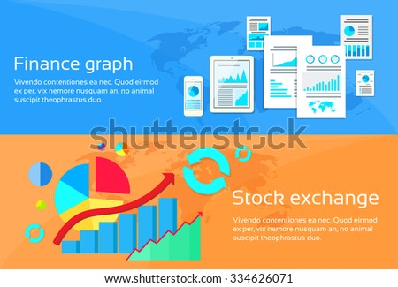 Finance Graph Stock Exchange Chart Web Banner Set Flat Design Vector Illustration - stock vector