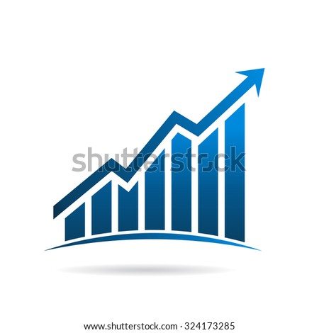 Finance graphic up rising logo - stock vector