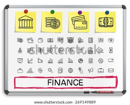 Finance hand drawing line icons. Vector doodle pictogram set: sketch sign illustration on white marker board with paper stickers: business, statistics, currency, money, payment, internet, register. - stock vector