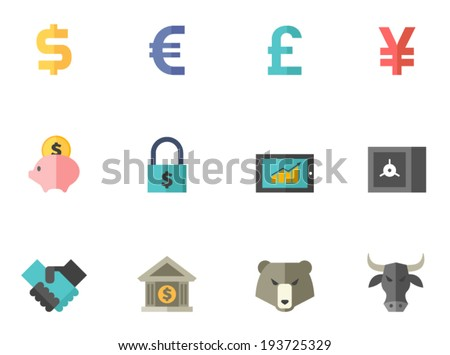 Finance icon series in flat colors style. - stock vector