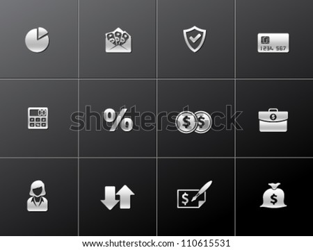 Finance icon series in metallic style