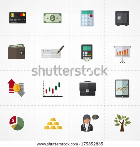 Finance Icons and banking icons set - stock vector