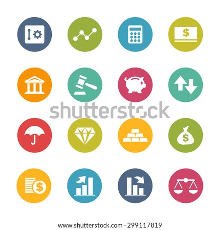 Finance Icons, Circle Series - stock vector