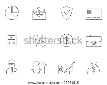 Finance icons in thin outlines. Money, business, foreign exchange.