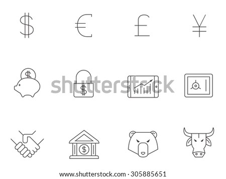 Finance icons in thin outlines. Trading, money. - stock vector