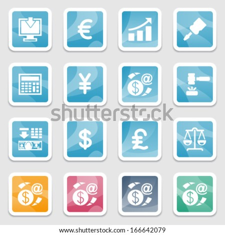 Finance icons on color plastics buttons.