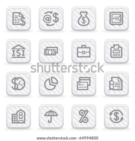 Finance icons on gray buttons. - stock vector