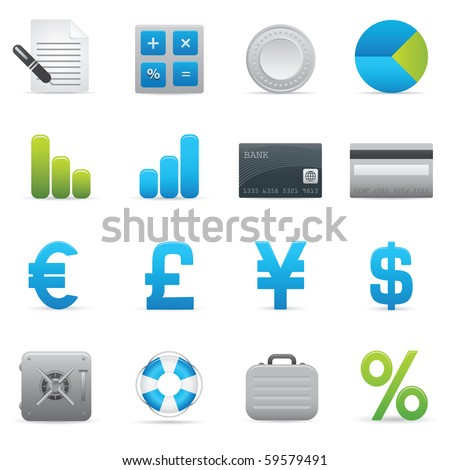 Finance Icons Set | Indigo Series 01 - stock vector