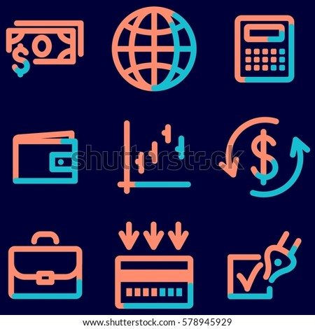 Finance icons set, signs for infographics, web, presentation