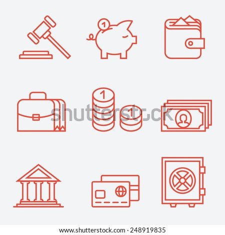 Finance icons, thin line style, flat design - stock vector