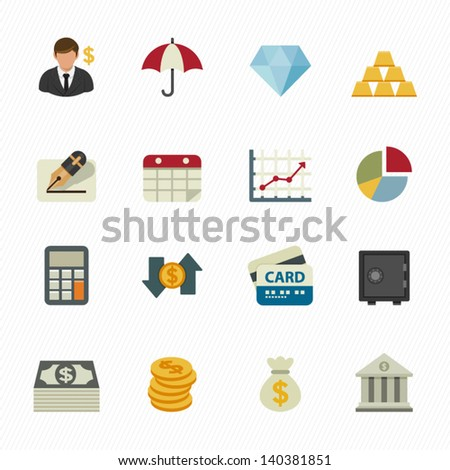 Finance Icons with White Background - stock vector