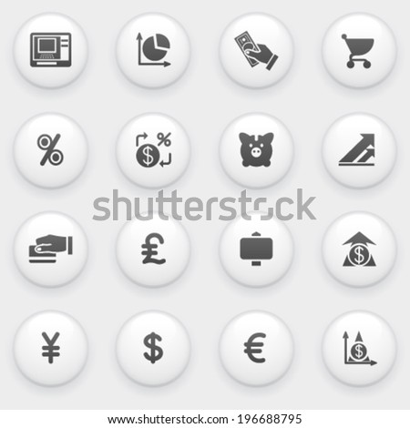 Finance icons with white buttons on gray background. - stock vector