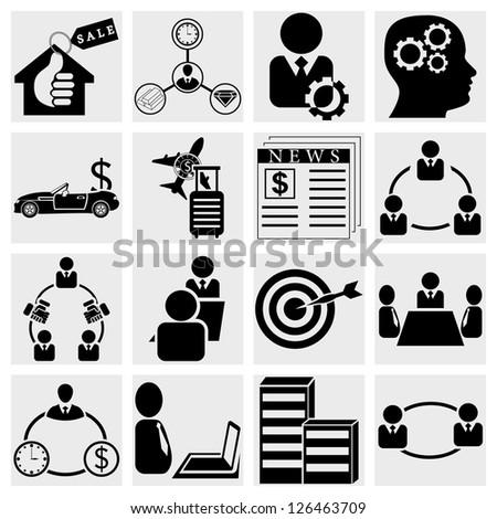 Finance make in active businessman handshake shape.Vector illustration.Management icons set. - stock vector