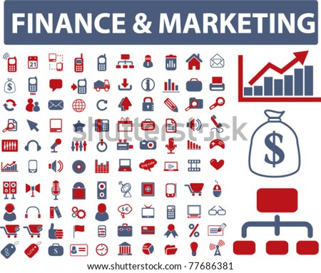 finance & marketing icons, signs, vector - stock vector