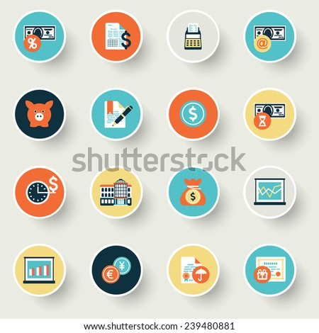 Finance modern flat color icons. - stock vector