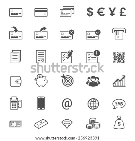 Finance, money and banking line style vector icon set - stock vector