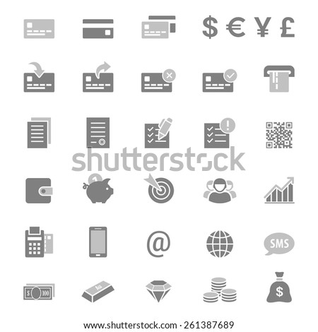Finance, money and banking silhouette vector icon set - stock vector