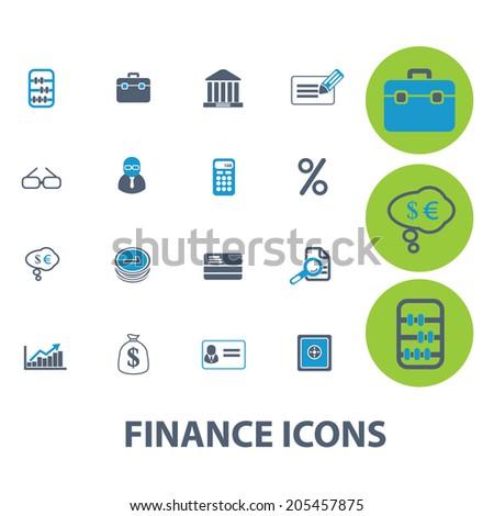 finance, money, bank icons set, vector - stock vector