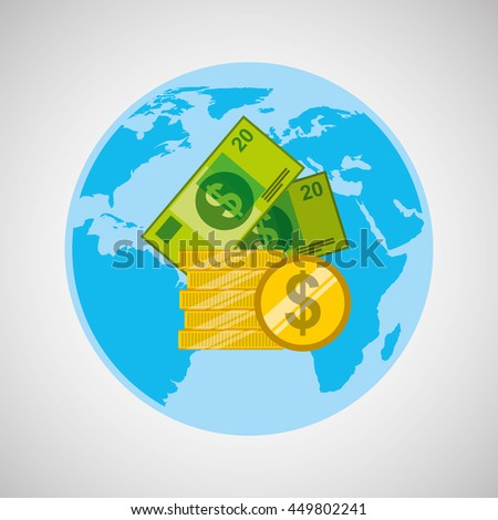 finance money economy dollar business isolated, vector illustration