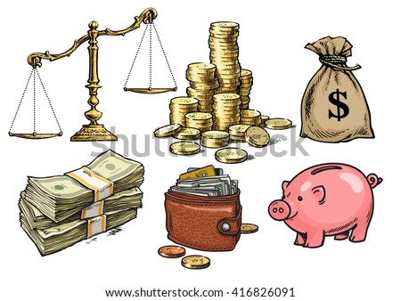 Finance, money set. Scales, stack of coins, sack of dollars, paper money, wallet, piggy bank. Hand drawn collection isolated on white background. Vector illustration., design for banks,  pawn shops. - stock vector