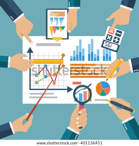 Finance report, concept flat style vector. Financial management, profit, strategy, investments planning, financial audit,  financial research, data analysis, marketing research, consultant, analytics - stock vector