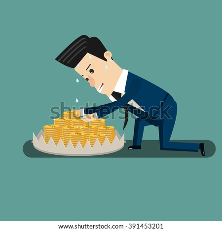 Finance risk concept. young business man look at money on trap. Flat design business concept illustration. Vector - stock vector