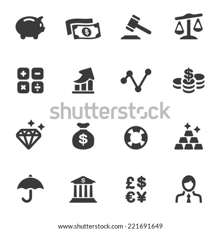 Finance Silhouette Icons - stock vector