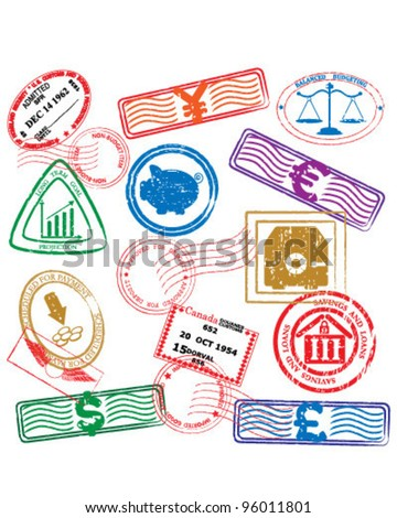 Finance Stamps Icon Collection         vector eps10 - stock vector