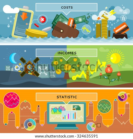 Finance statistic costs and incomes. Money and business, profit and investment, growth cash, banking currency, pay and market, bookkeeping report, accounting and credit illustration