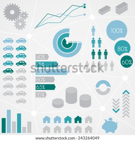 Finance Statistical Info Graphic Set - stock vector