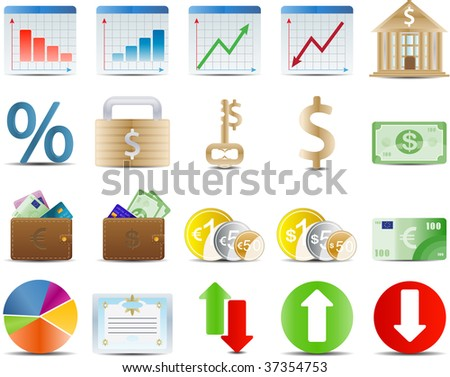 finance stock and economy set of 20  icon - stock vector