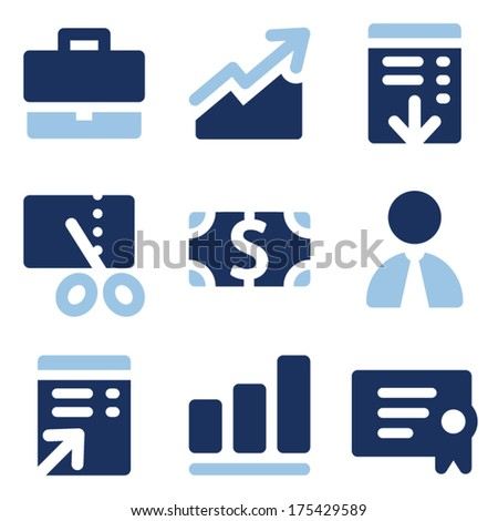 Finance web icons, blue set