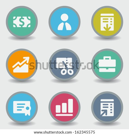 Finance web icons, color circle buttons - stock vector