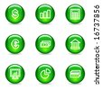 Finance web icons, green glossy sphere series - stock vector