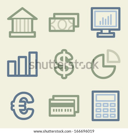 Finance web icons, money color set - stock vector