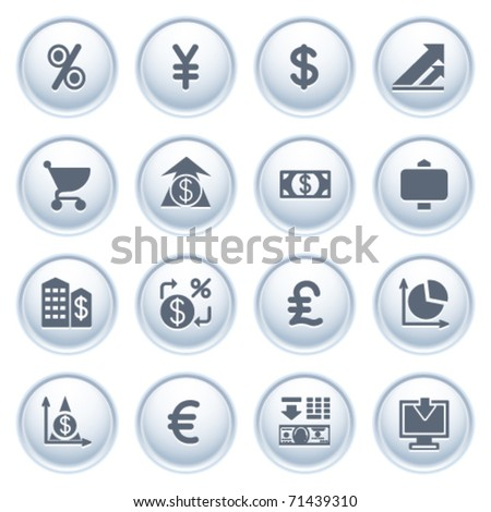 Finance web icons on buttons. - stock vector