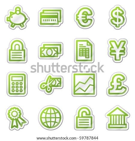Finance web icons set 2, green sticker series - stock vector