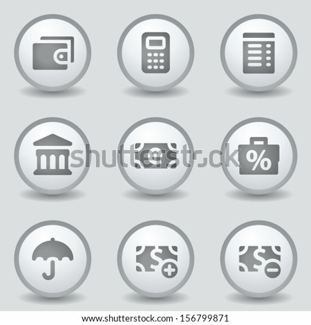 Finance web icons set 2, grey circle buttons - stock vector