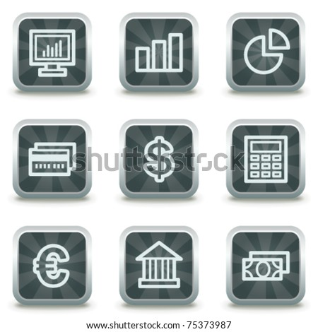 Finance web icons set 1, grey square buttons - stock vector