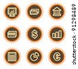 Finance web icons set 1, vintage buttons - stock vector