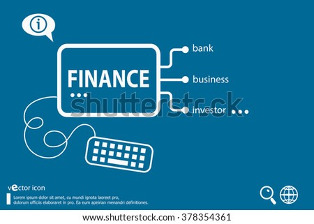 Finance word cloud and flat design elements, business concept - stock vector
