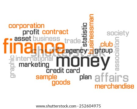 FINANCE WORLD CLOUD CONCEPT TEST AND MORE ORANGE - stock vector