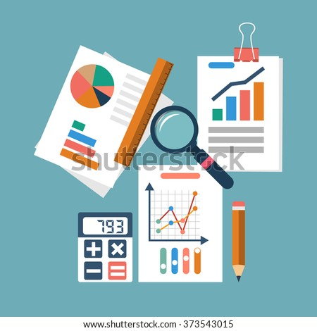 Financial accounting concept. organization process, analytics, research, budget planning, report, market analysis. Flat Style. Vector illustration - stock vector