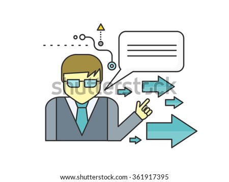 Financial adviser or business mentor help team partner up to profit growth flat design. Mentoring concept. Mentor helping achieve better and best improvement on evaluation. Mentor shows direction