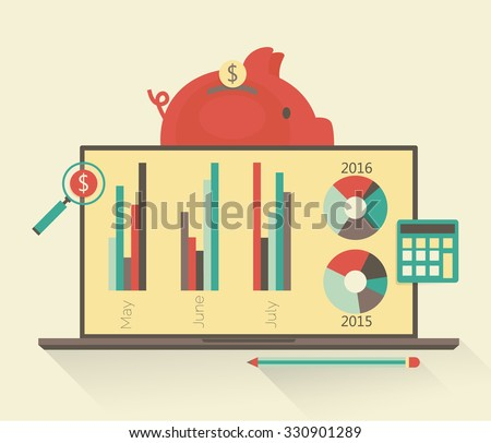 Financial analysis. Budget planning concept. Flat banking and finance icon - stock vector
