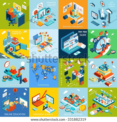 Financial analysis, business training, and sales concept set. Online education, creative thinking, fundraising and read book, launch startup, financial analysis, intelligance and click pay per - stock vector