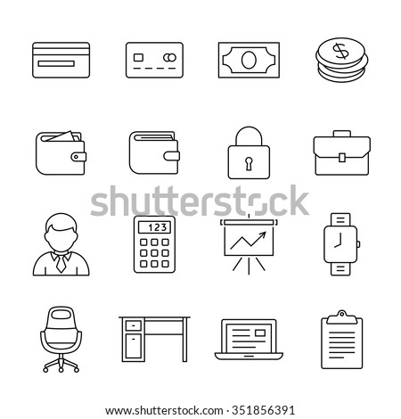 Financial and business icon set. Outline icons - money, finance and payments. Linear style